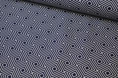 Stoff grafische Muster - Baumwolle Square by Poppy dunkelblau - ein Designerstück von Kruemel-Design bei DaWanda