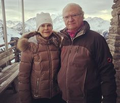 Queen Silvia and King Carl Gustaf of Sweden vacationing at the Swiss Alps, Switzerland, right now. There is a photo of King Carl Gustaf and Queen Silvia taken in the Swiss Alps on Instagram. January 2017