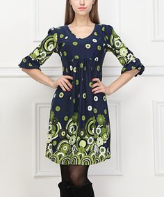 Take a look at the Navy Blue & Green Floral Ruffle-Sleeve Dress on #zulily today!