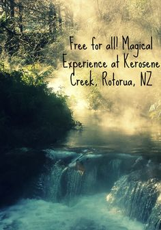 Free for all! Swim in steaming waterfalls and hotspring stream at Kerosene Creek, Rotorua, NEw Zealand. A truly magical experience