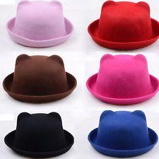 Cute Wool Cat Ear Soft Design Hat Derby Bowler Cap