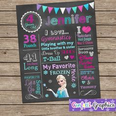 Chalkboard Birthday Sign Poster Any Age Baby's 1 2 3 4 5 Birthday Chak Girls Cute Frozen Elsa Colorful Printable Custom Personalized on Etsy, $20.00