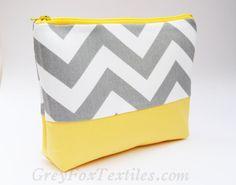 Gray chevron and yellow cosmetic bag, zipper pouch, gadget bag, makeup bag, travel bag