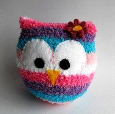 owl sock animal plush animal sock doll pink by TreacherCreatures Diy Sock Toys, Sock Crafts, Sewing Crafts, Sewing Projects, Craft Projects, Sock Animals, Plush Animals, Owl Socks, Fluffy Socks