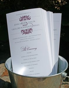 Pretty Purple and Grey Program  - Distinctive Damask Wedding Program by Tiger Lily Invitations