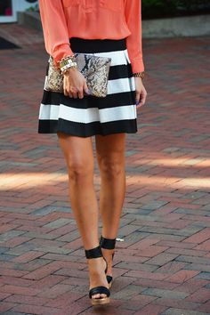 Black and White Skirt + Coral + Wedges