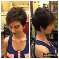 """How to style the Pixie cut? Despite what we think of short cuts , it is possible to play with his hair and to style his Pixie cut as he pleases. For a hairstyle with a """"so chic"""" and pointed… Continue Reading → Cute Haircuts, Short Pixie Haircuts, Cute Hairstyles For Short Hair, Pixie Hairstyles, Short Hair Cuts, Easy Hairstyles, Curly Hair Styles, Hairstyle Ideas, Choppy Haircuts"""