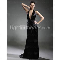 Elastic Woven Satin Sheath/ Column V-neck Sweep/ Brush Train Evening Dress inspired by Grammy