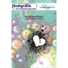 IndigoBlu Cling sello el corazón salpicado de goma IND0136PC