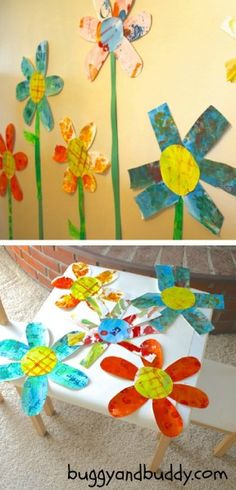 Awesome GIANT Spring Flower Art perfect for Preschool - from Buggy and Buddy at B-InspiredMama.com