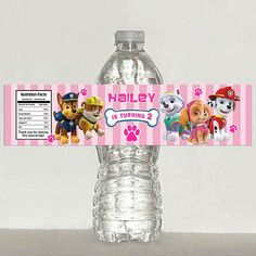 Girls Paw Patrol water bottle label - Printable | Mary_Party_Supply - Paper/Books on ArtFire