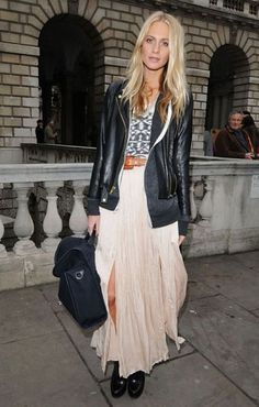 Boho Street Style Inspiration: Maxi Skirt + Leather Jacket Fall Look #johnnywas