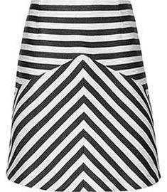 Womens Black/white Contrast Stripe A-line Skirt - Reiss Bryana