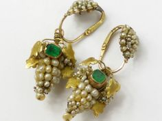 Antique Georgian? Seed pearl & Emerald Grape & Vine solid gold earrings