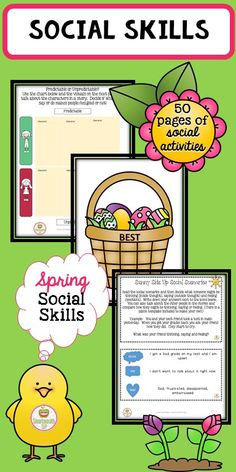 This basket full of spring social skills activities will take your speech therapy, social skills groups or in class lesson through the month!