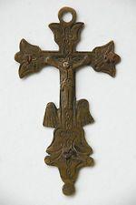 Ancienne Croix pectorale Crucifix Christ en cuivre gravé