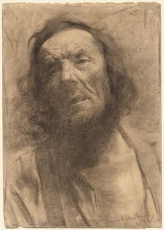 Frederick William MacMonnies (American, 1863-1937) | Charcoal (fusain) | Head of a Man | 1884 | Cleveland Museum of Art