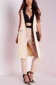 Petite Contrast Detail Sleeveless Gilet in Camel