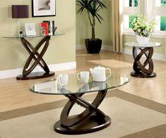 Furniture Of America Caliyah Oval Glass Top Coffee Table Dark Walnut