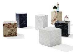 Natural stone stool / coffee table QBIC by Draenert design Patric Draenert