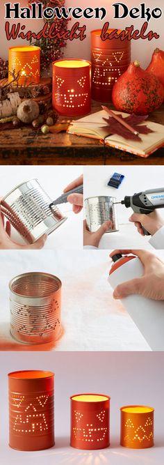 Aus leeren Konservendosen kann man auch schöne Deko für Halloween basteln. Wir zeigen, wie sie die gruseligen Windlichter selbst machen können.