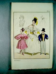 """""""Ninth annual. Plate 24. A hand colored fashion plate from the famous magazine """"Magasin för konst nyheter och moder"""" (Magazine for Art, News and Fashion). A monthly magazine published from 1823 to 1844. (A direct continuation in a new format of """"Konst- och Nyhets Magasin för Medborgare af alla Klasser"""", started in 1818)."""""""