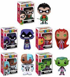 Teen Titans Go! Pop! Television Vinyl Figures by Funko - Robin, Raven, Starfire, Cyborg & Beast Boy