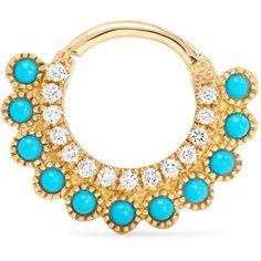 Maria Tash 18-karat gold multi-stone earring ($1,020) ❤ liked on Polyvore featuring jewelry, earrings, earrings jewellery, earring jewelry, hoop earrings, maria tash jewelry and 18 karat gold jewelry