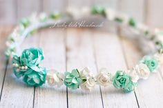 Mint Flower Crown Floral headband Flower by LuckyKidsHandmade