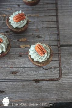 Raw Pecan Cupcakes with Spirulina-Rhubarb frosting. That frosting is a must try!