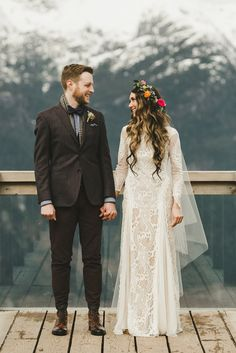 Christopher and Candice-May's breathtaking bohemian wedding in the Canadian Mountains, featuring our Inca gown.