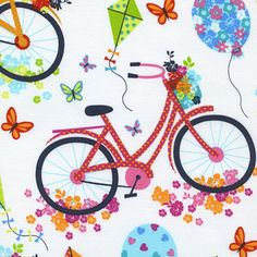 Timeless Treasures House Designer - Day in the Park - Bicycles in White
