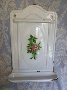 Rack utensil smalto floreale grande vintage francese, Rose, fiori, bianco vaschetta raccogligocce, smalti, cucina antico paese, design classico