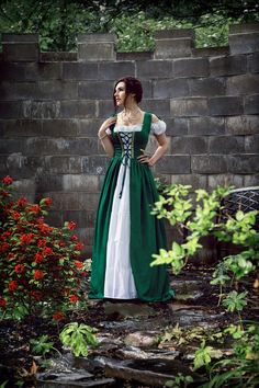 SPECIAL ORDER - Please allow 4-6 weeks for delivery. THE IRISH FULL COSTUME  Fitted sleeveless bodice ~ may be worn with any style chemise Front lace-up Shoulder lace-up for better fit Lovely brocade trim (varies due to availability) Soft cotton blend material Laces in back to cinch to custom fit Chemise (in cream) ~ Two wide ruffles below waist, cap sleeves  SIZING:  XXS/XS = 28 to 32 bust and a 24 to 30 waist  S/M = 32 to 36 bust and a 30 to 34 waist  L/XL =  3... Bohemian Costume, Irish Costumes, Earthy Style, Renaissance Costume, Ethereal Beauty, Circlet, Boho Dress, Model, Medieval