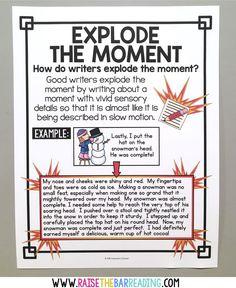 How I Teach Explode the Moment Writing - Raise the Bar Reading Writing Mini Lessons, Writing Classes, Writing Workshop, Teaching Writing, Descriptive Writing Activities, Recount Writing, Writing Mentor Texts, Writing Rubrics, Teaching Skills