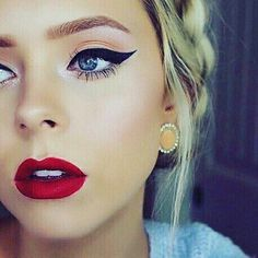 Classic prom makeup. Cat eye and red lip.