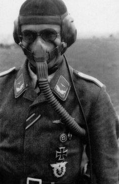 A German Luftwaffe pilot wearing his oxygen mask during WWII. #aviationpilotworldwarii