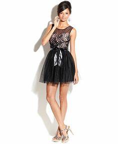 9158be06466f5 Emerald Sundae Juniors Dress, Sleeveless Lace Illusion Mini & Reviews -  Dresses - Juniors - Macy's