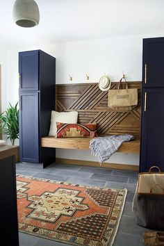 Navy Laundry Room Reveal A dated space gets a dramatic update. Check out this Modern Navy Laundry and Mud Room Reveal!A dated space gets a dramatic update. Check out this Modern Navy Laundry and Mud Room Reveal! Home Design, Flur Design, Interior Design, Design Ideas, Design Design, Design Room, Chair Design, Wall Design, Living Room Decor
