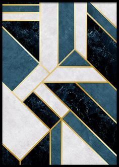 Geometric blue poster in the group prints / gold & silver at desenio Motif Art Deco, Art Deco Decor, Art Deco Pattern, Art Deco Design, Art Deco Tiles, Art Deco Print, Poster Shop, Poster Prints, Art Prints