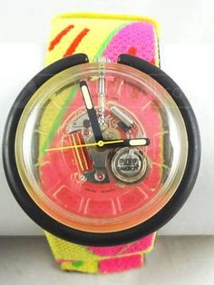 Colorful Neon Rainbow Swatch Watch