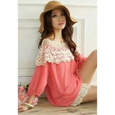 Loose-Fitting Scoop Neck Puff Sleeve Chiffon Women's Spring Blouse, PINK, ONE SIZE in Blouses | DressLily.com