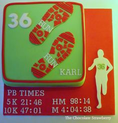 Running Themed Cake Cake In Running Club Colours With Personal Best Times  on Cake Central