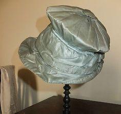 Pale blue jockey cap style silk bonnet. Early 19th century. Tiny size. So lovely! Poppiescottage ebay.