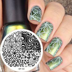 Nailpolis Museum of Nail Art | Stunning Green Leaf Stamping Nails by Born Pretty