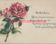 Digital Library: Antique Happy Birthday Greeting Postcard With Many Happy Returns Featuring Rose Bud and Cute Poem. Birthday Poems, Birthday Postcards, Vintage Birthday Cards, Vintage Cards, Birthday Wishes, Happy Returns, Happy Birthday Greetings, Some Cards, Craft Corner