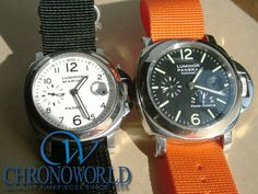 Brand: OFFICINE PANERAI  (Right)Model: PAM00090  Strap: Zulu (Black 22mm)  (Left)Model: PAM00049  Strap: Zulu (Orange 22mm)  Owner: M.H. (Saitama, Japan)  Purchase this Strap at:   http://www.chronoworld.com/watch-straps-bands/hdt-design/hdt-zulu-ballistic-nylon-strap-2-ring-20mm-22mm-24mm.html  #watchstraps #watches #watchstrap #natostraps #zulustrap #panerai