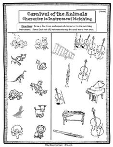 Carnival of the Animals Fun Activity Packet (Enhancement Worksheets) - PDF Music Worksheets, Kids Math Worksheets, Printable Worksheets, Kindergarten Music, Teaching Music, Learning Guitar, Music For Kids, Math For Kids, Elementary Music Lessons