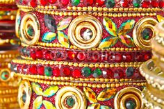 Traditional Indian bangles with different colors and patterns