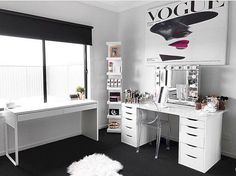 45 + Beautiful Glam Room Ideas for your Home Inspirations - Design & Decoration - Beauty Room Makeup Beauty Room, Makeup Rooms, Vanity Room, Vanity Decor, Closet Vanity, Ikea Vanity, Vanity Ideas, Closet Interior, Glam Room
